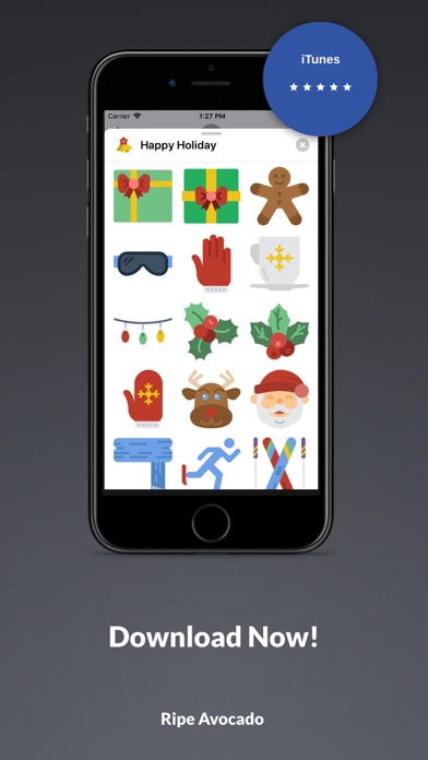 Screenshot for 100 Happy Holiday Stickers! in United States App Store