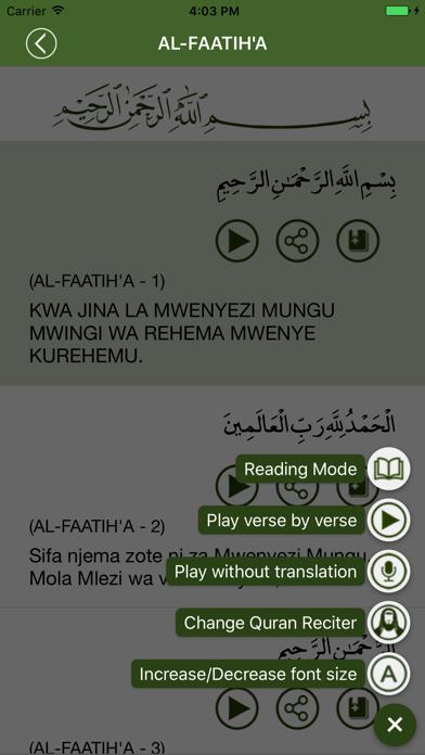 Quran in Swahili screenshot four