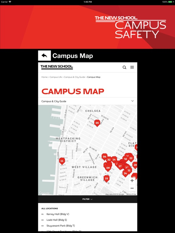 The New School Campus Map.Campus Safety The New School App Price Drops