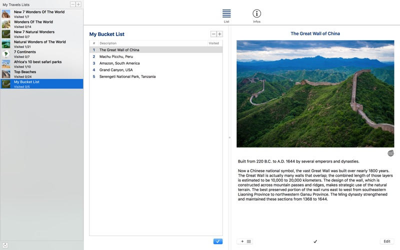 My Travels Lists скриншот программы 3