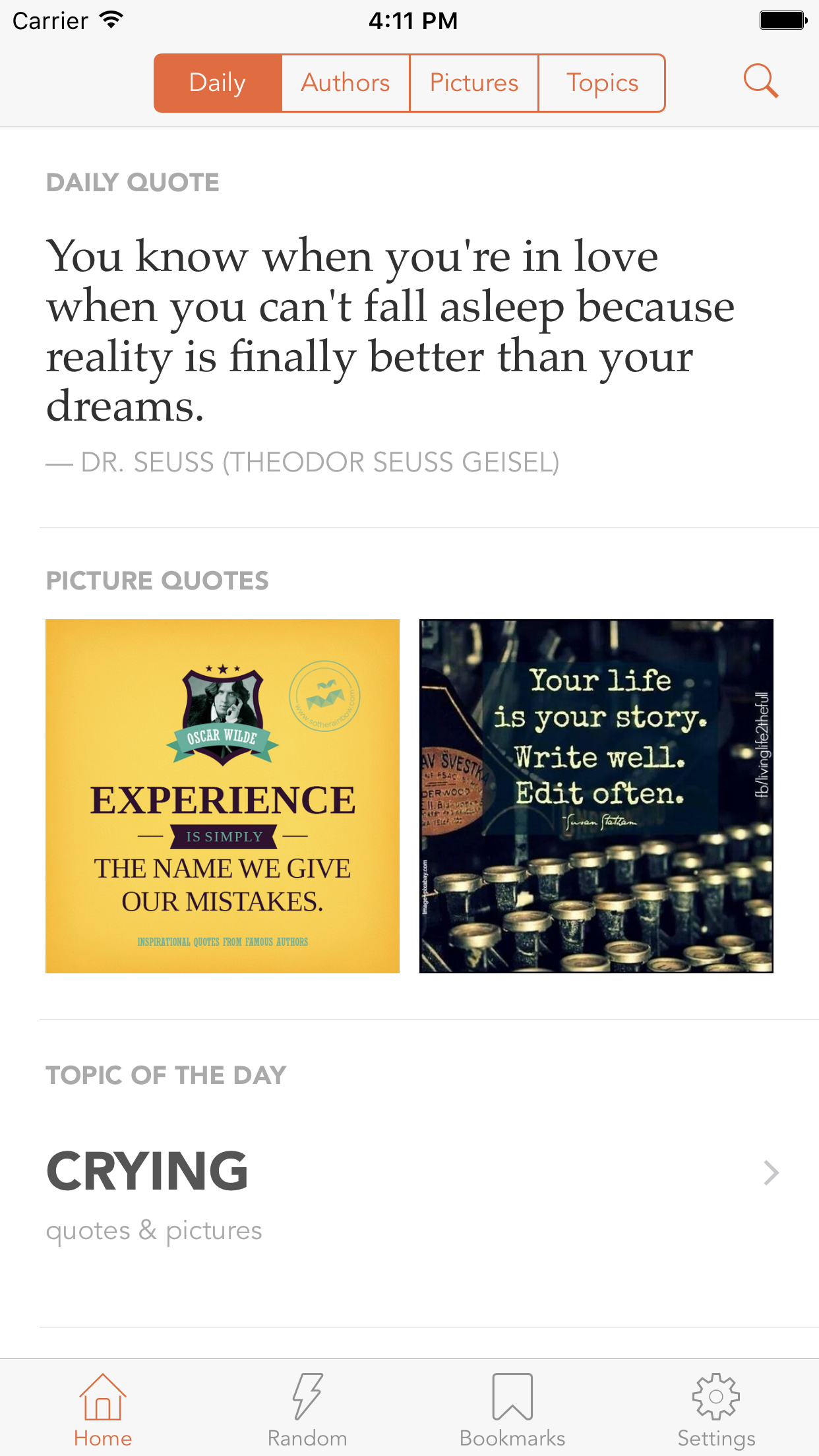 Quotlr Daily Quotes & Sayings Screenshot
