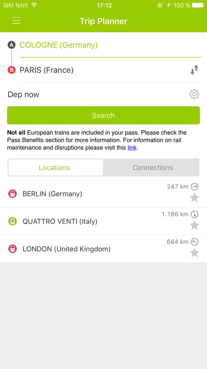 Rail Planner Eurail/Interrail Screenshot