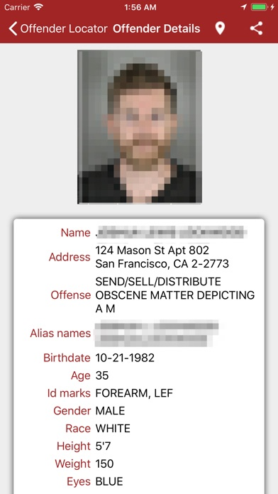 Screenshot for Offender Locator in United States App Store