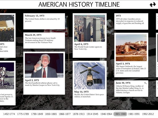 American History Interactive Timeline screenshot