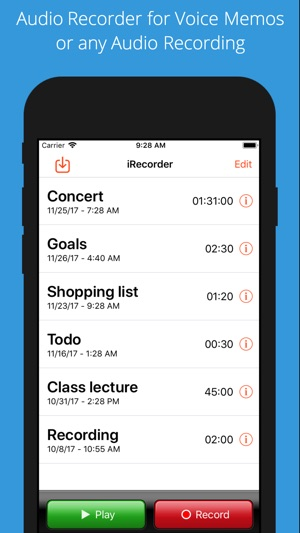 iRecorder Pro Audio Recorder Screenshot