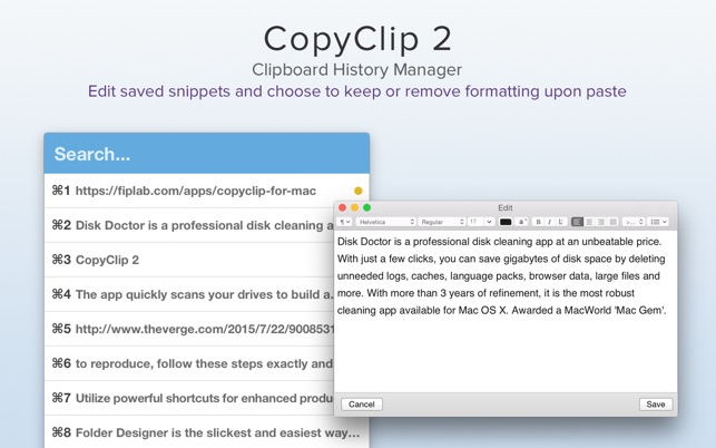 CopyClip 2 - Clipboard Manager Screenshot