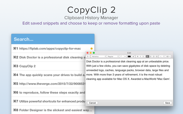 ‎CopyClip 2 - Clipboard Manager Screenshot