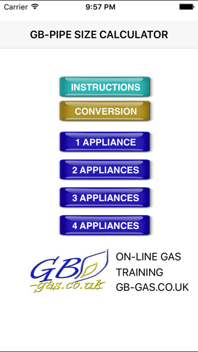 GB Gas Pipe Sizing Calculator