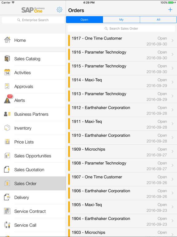 Screenshots of SAP Business One for iPad