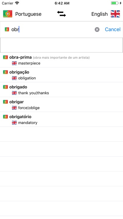 Portuguese/English Dictionary screenshot-0