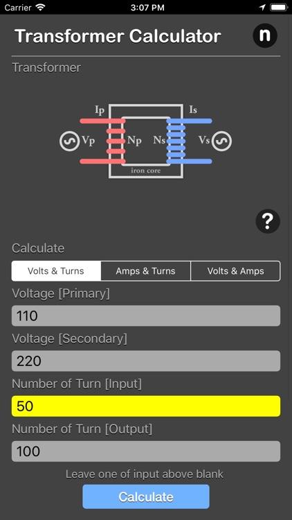 Transformer Calculator Plus by Nitrio
