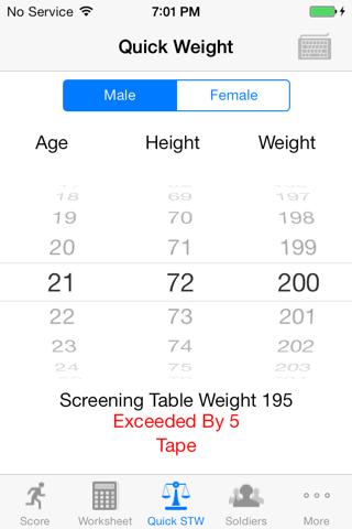 Army Fitness APFT Calculator screenshot 2