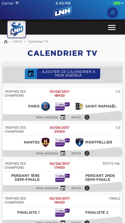 Lidl Starligue Calendrier.Lnh Hand Pro By Ligue Nationale Handball