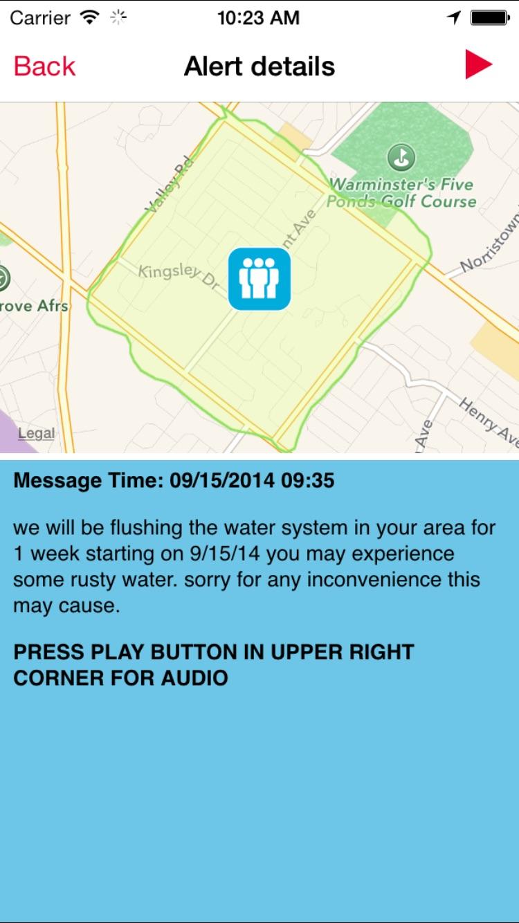CodeRED Mobile Alert Screenshot