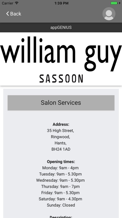 Image of William Guy Salon for iPhone