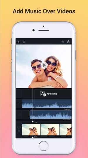 How to add music behind a video on iphone