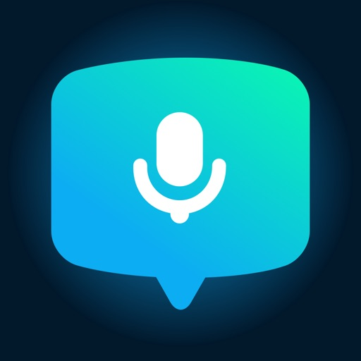 a speech bubble with the silhouette of a microphone inside