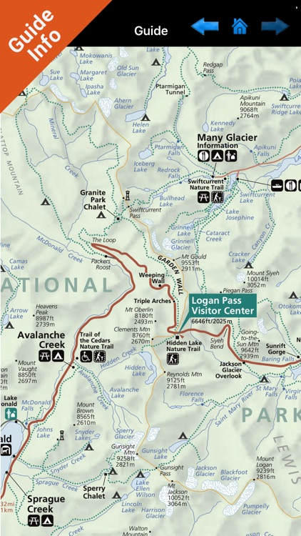 Glacier NP GPS and outdoor map with guide