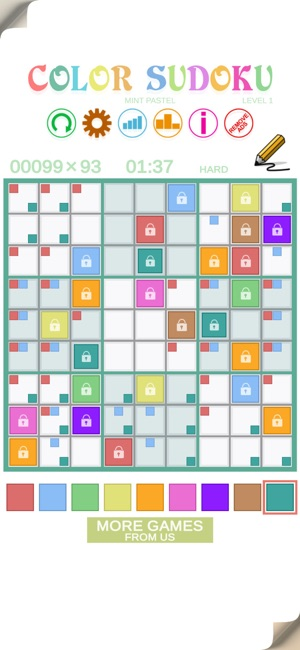 Color Sudoku Mint Pastel Screenshot