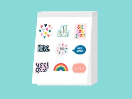 A collection of 30 awesome stickers, hand-drawn by Sarah Klassen