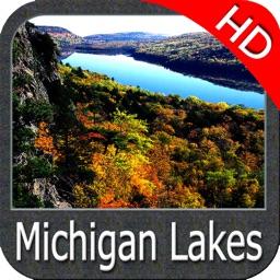 Michigan lakes map HD GPS fishing charts Navigator