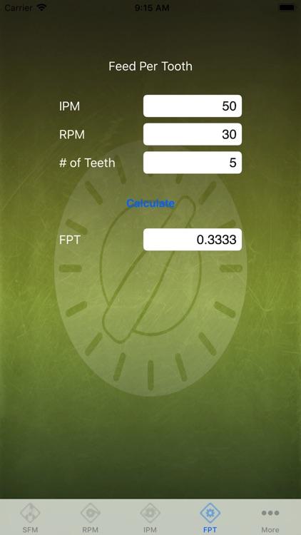 Feed Rate Calculator Lite screenshot-3