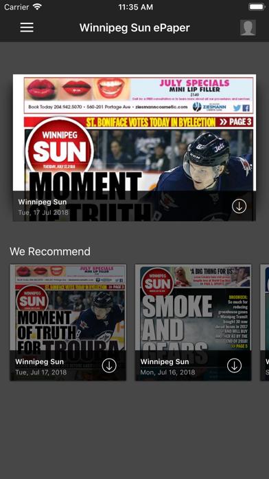 Winnipeg Sun ePaperScreenshot of 1