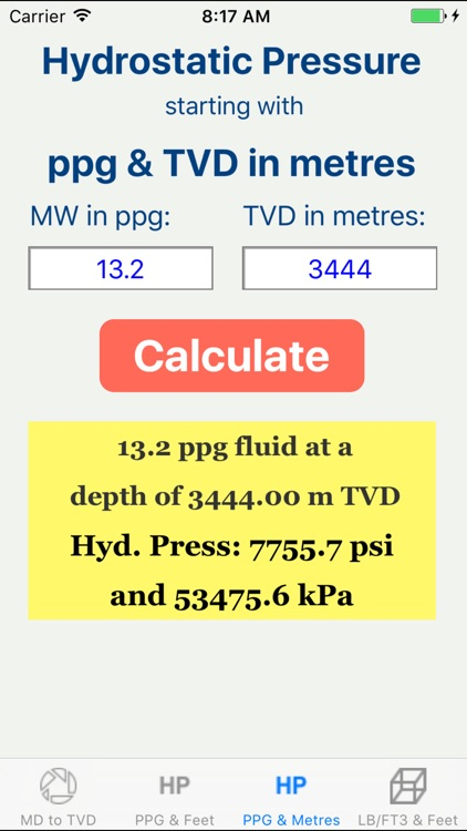 OilField Hydrostatic Pressure.