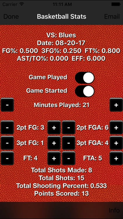 Basketball Stats Tracker Touch screenshot-1