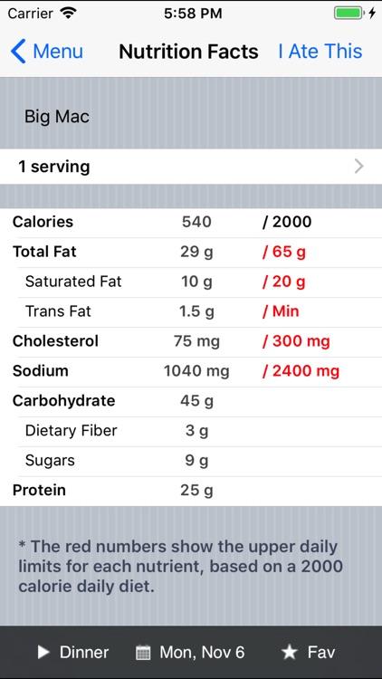 Restaurant Calorie Counter screenshot-3