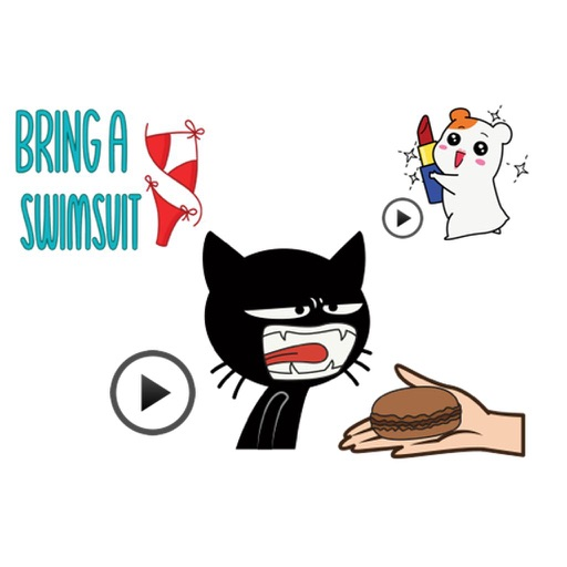 Animated Black Cat, Hamster, Summer Things Sticker