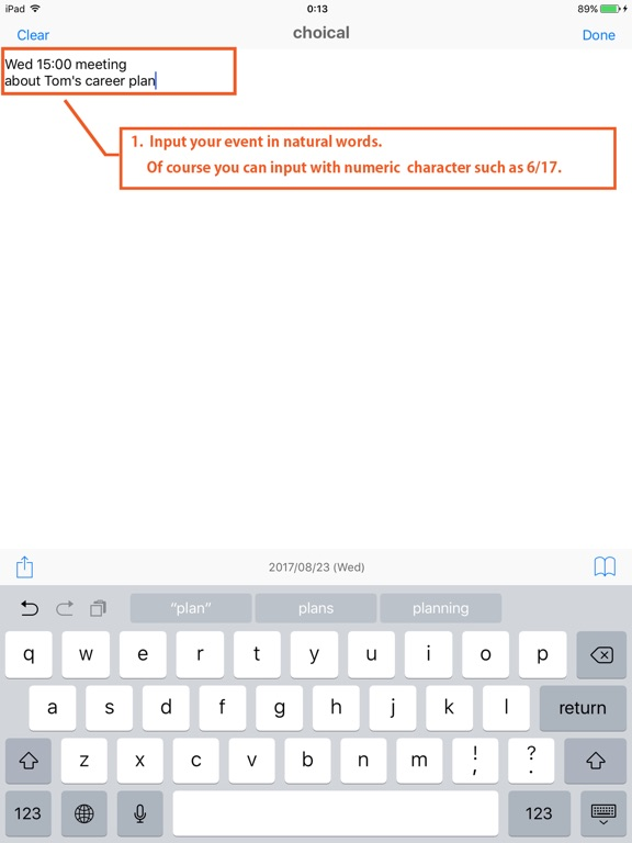 Screenshots for choical - easy calendar input