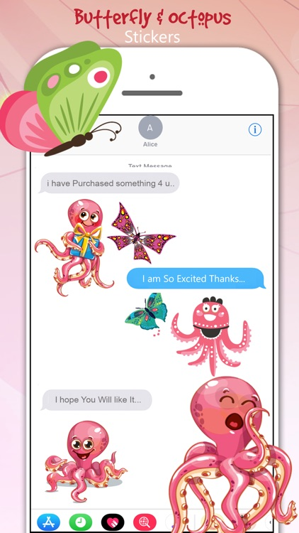 Butterfly & Octopus Stickers screenshot-3