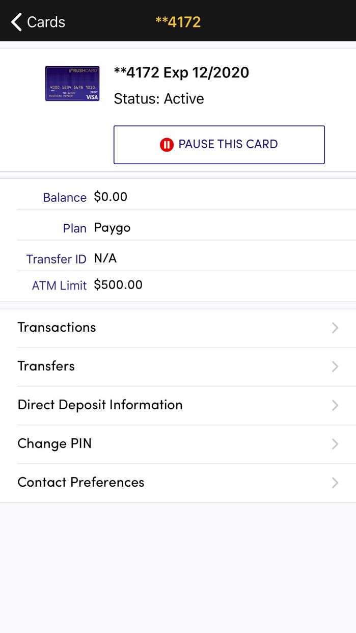 RushCard Screenshot