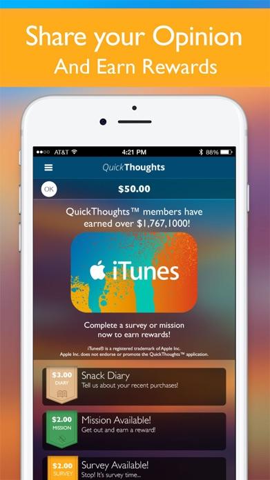 QuickThoughts - Earn Rewards Screenshot
