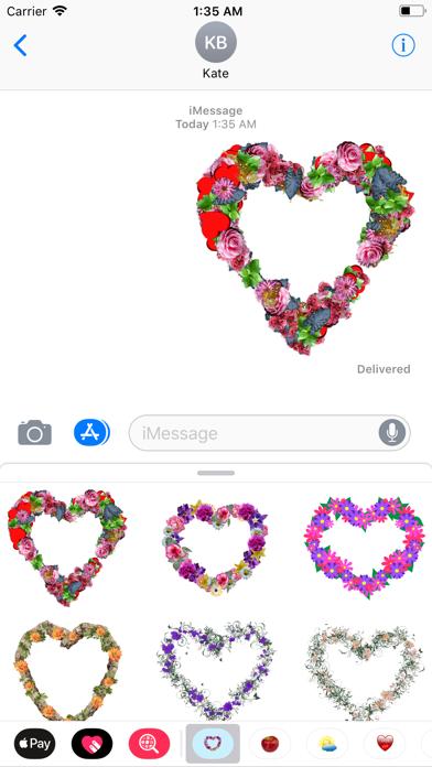 Floral Hearts Sticker Pack screenshot three