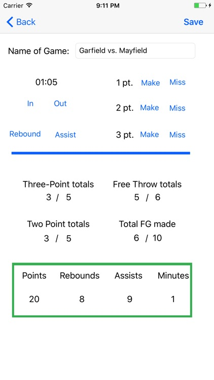 Personal Basketball Stat Keeper