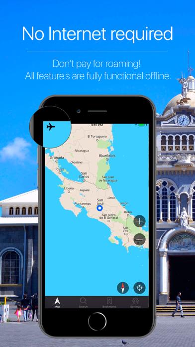 Costa Rica Offline Navigation Screenshot