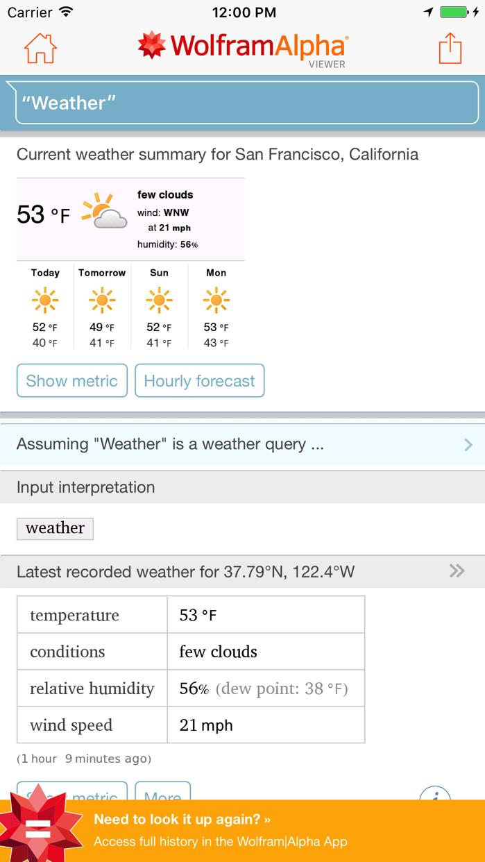 WolframAlpha Viewer Screenshot