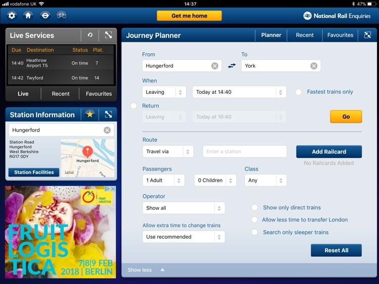 NationalRail Enquiries - iPad screenshot-4