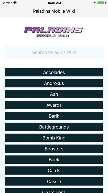 Mobile Wiki for Paladins