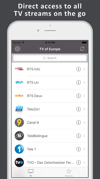 TV of Europe - live television Screenshot on iOS
