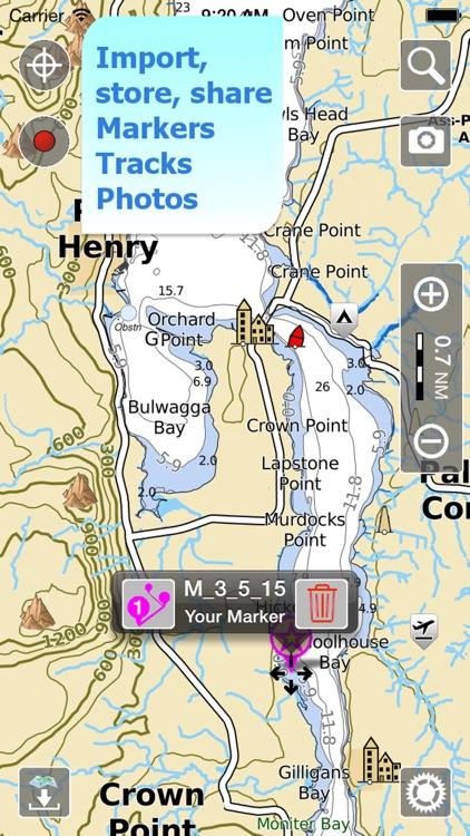 Aqua Map Vermont Lakes GPS HD screenshot-3