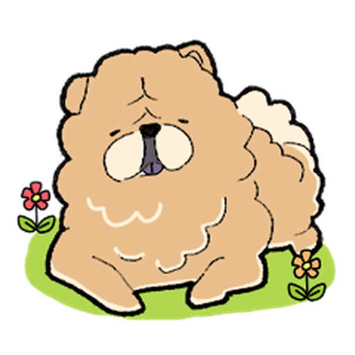 Chubby Chow Chow Dog Sticker