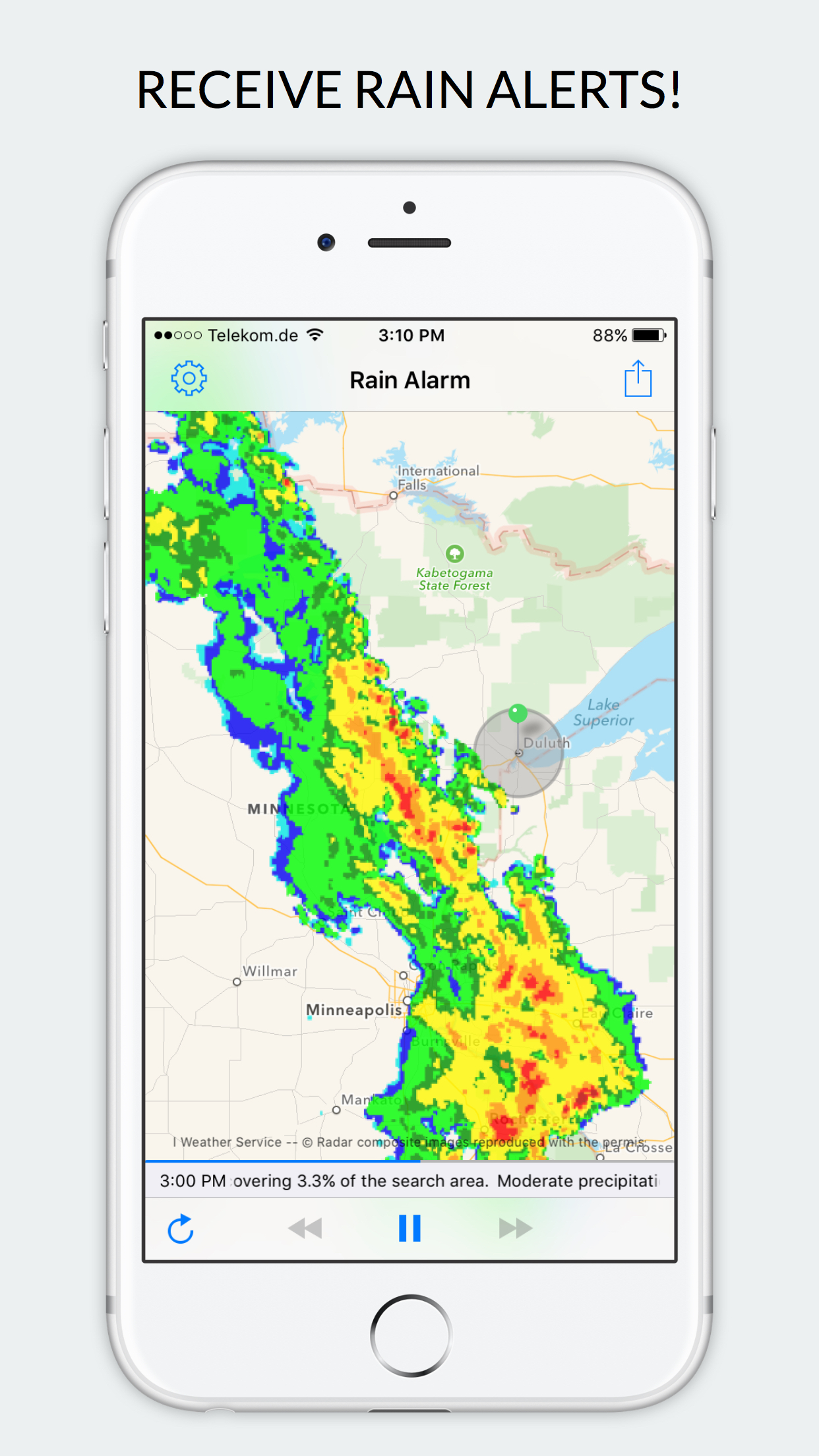 Rain Alarm - Weather Radar Screenshot