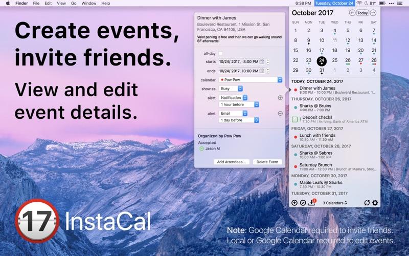 InstaCal - Menu Bar Calendar Screenshot