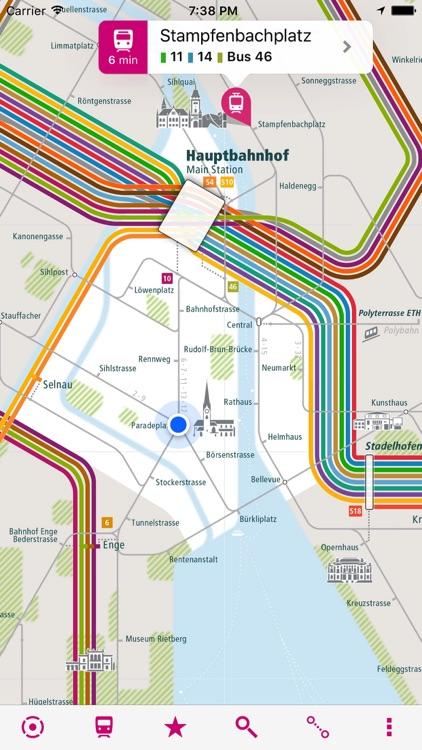 Zurich Rail Map Lite by Urban-Map on
