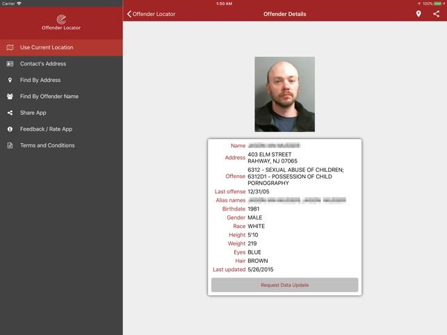Sex offenders list app