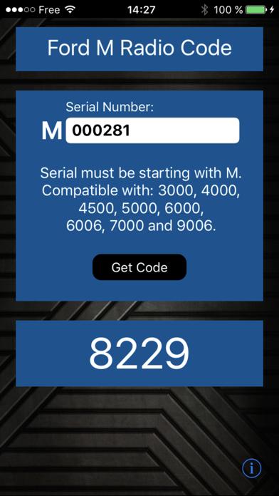 Ford M Radio Code Generator screenshot one