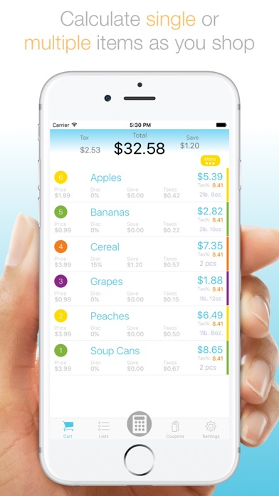 grocery list app with calculator